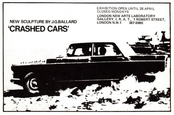 Advertisement for Ballard's Crashed Cars Exhibition